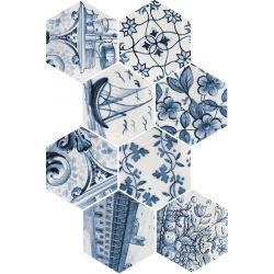 Carrelage Hexagonal en grès cérame émaillé.   Imitation d'azulejos, décors patchwork 3 tons....