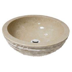 Lavabo en marbre. Vasque en pierre.   Extérieur bouchardé.   Chaque pièce est unique   RONDA...