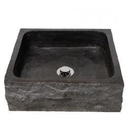 Lavabo en marbre. Vasque en pierre.   Chaque pièce est unique   JOKUL NOIR