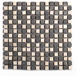 Produits naturels, ces  mosaïques en marbres carrés blancs et gris foncé , sont montées sur une...
