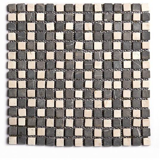 Marbres naturels carrés blanc et gris foncés
