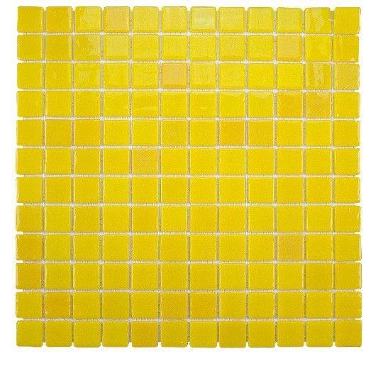Mosa que en maux de verre p te de verre unis jaunes 31 6x31 6cm - Verre pile piscine ...