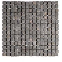 Produits naturels, ces  mosaïques en marbres carrés gris foncé , sont montées sur une trame...
