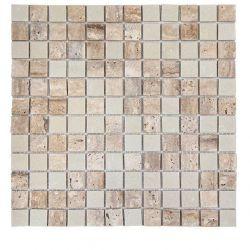 Produits naturels, ces mosaïques en marbres carrés travertin et boticino , sont montées sur une...