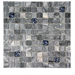 Mosaïques de 2,5x2,5 cm marbre gris aspect bois plus inserts émaux de verre.     Idéal pour...