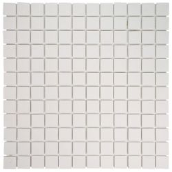 Carreaux 2,5x2,5 cm blanc FLUORO en grès-cérame pleine masse full body.     Carrelage...