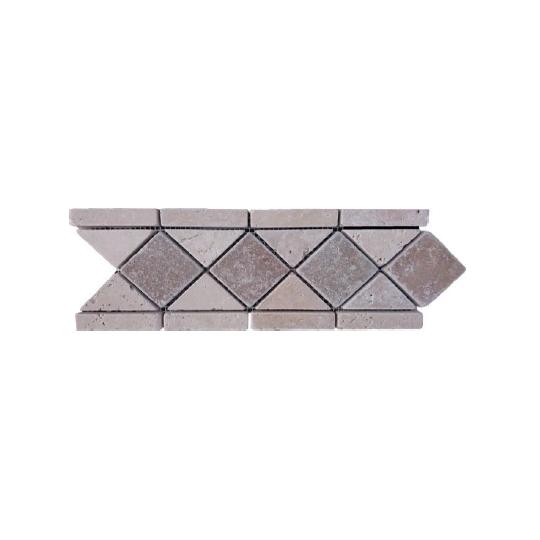 Frise 10x29 cm travertin clair / foncé