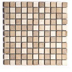 Produits naturels, ces  mosaïques en marbres carrés mélange trois couleurs , sont montées sur...