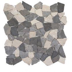 Produits naturels, ces  mosaïques en cassons de marbres palladiana blancs, gris clair et gris...