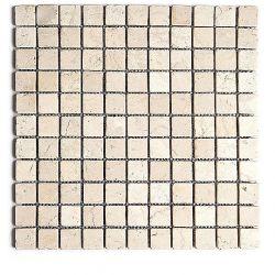 Produits naturels, ces  mosaïques en marbres carrés blancs , sont montées sur une trame souple...