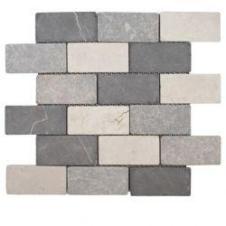 Produits naturels, ces mosaïquesen marbres 5x10 cm blanc gris clair et gris foncé , sont...