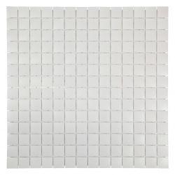 Carreaux enémaux de verre blanc mat.   Très tendance cet article s'utilise au sol comme au mur...