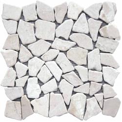 Produits naturels, ces  mosaïques en cassons de marbres palladiana blancs , sont montées sur une...