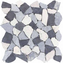 Produits naturels, ces  mosaïques en cassons de marbres palladiana blanc noir et gris , sont...