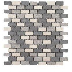 Produits naturels, ces mosaïquesen marbres 1,7x3,5 cm blanc gris clair gris foncé , sont...
