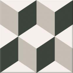 Carrelage imitation carreau ciment, décor géométrique.   Ce modèle apporte un effet 3D du plus...